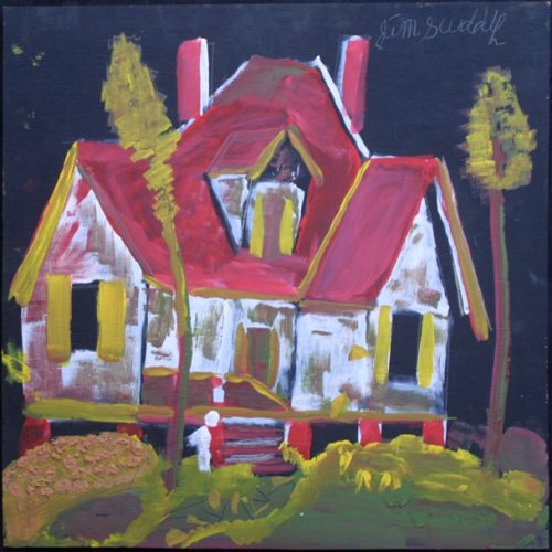 """""""House with Red Roof"""" by Jimmie Lee Sudduth (photo courtesy of Marcia Weber Art Objects)"""