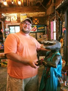 Dancing with a local gator in Abita Springs.